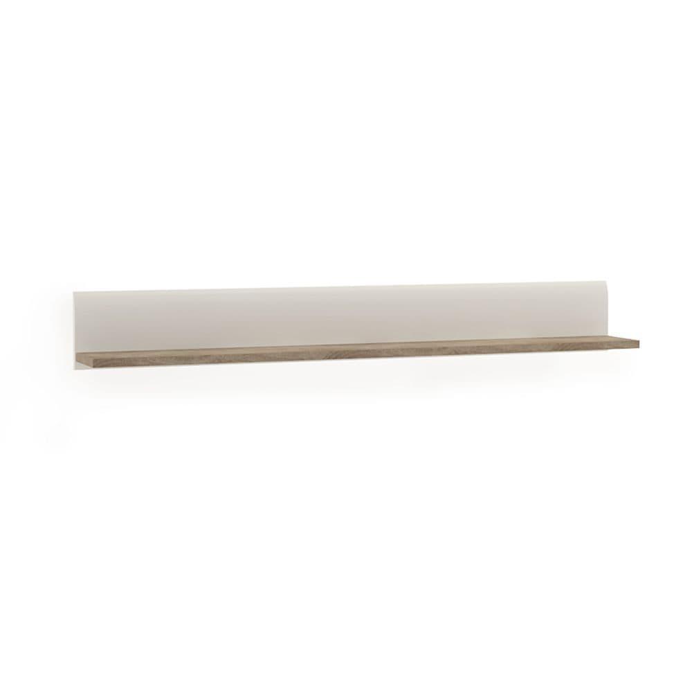 Brompton Wall Shelf in White with oak trim